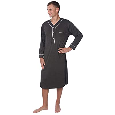 Beverly Rock Men's Jersey Long Nightgown Long Sleeve Lounge Sleep Shirt with Piping Finish at Men's Clothing store