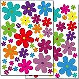 Pegatinas para la pared Wandkings «Flores de colores, modelo 3» - Juego de adhesivos de 62 unidades en 2 hojas DIN A4