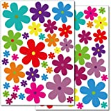 Wandkings wall stickers Colourful Flowers – Design 3 Sticker Set – 62 stickers on 2 US letter sheets (each 8.3 x 11.7 inch)