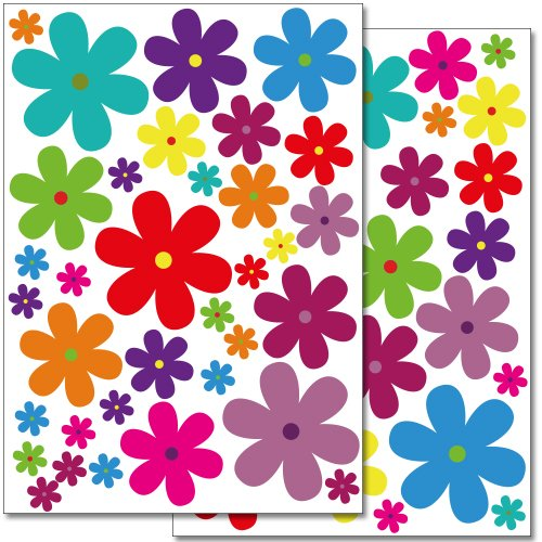 WANDKINGS Wall Stickers Colourful Flowers - Design 3 Sticker Set - 62 Stickers on 2 US Letter Sheets (Each 8.3 x 11.7 inch) (Vinyl Flowers)