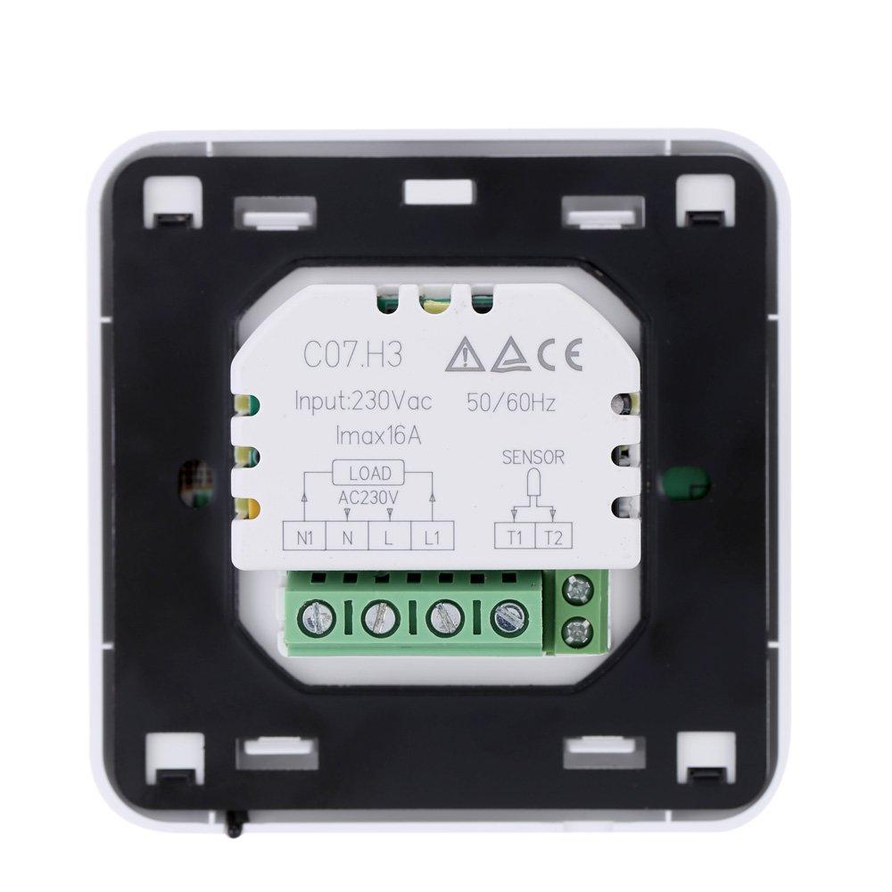 Pantalla Táctil de Termostato Programable Calefacción Backlet - Verde: Amazon.es: Bricolaje y herramientas