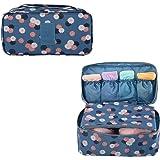 Evtech(tm) Portable Travel Drawer Dividers Closet Organizers Bra Underwear Storage Bag (2nd Gen. Navy Blue Flower)