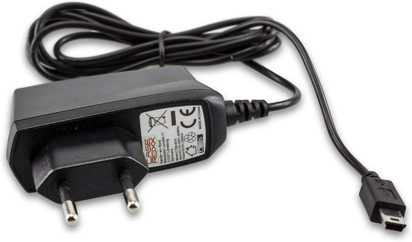 caseroxx Cable Cargador Smartphone Cargador para Garmin eTrex Summit, Cargador Fuente de alimentación para Cargar el móvil (Cable Flexible y Estable en Negro)