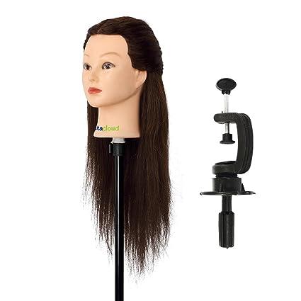 Maniquí de Cabeza para practicas de peluquería con cabello pelo real 90% 56cm (con