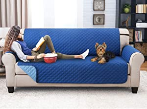 MO&SU Reversible Sofa Slipcover, Quilted Sofa Cover for Dog Cat Sofa Cover Non-Slip Stain Resistant Furniture Protector for Living Room 1 2 3 Cushion Couch -Navy Blue-Loveseat 112X185CM