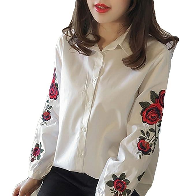 Blusa elegante de la camisa de las mujeres - hibote Señoras con cuello en V jersey