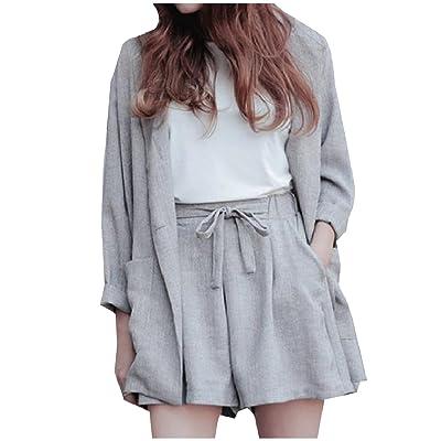 Abetteric Women Custom Fit Linen Strappy Blazer Jacket Coat + Shorts 2 Piece Set Suit