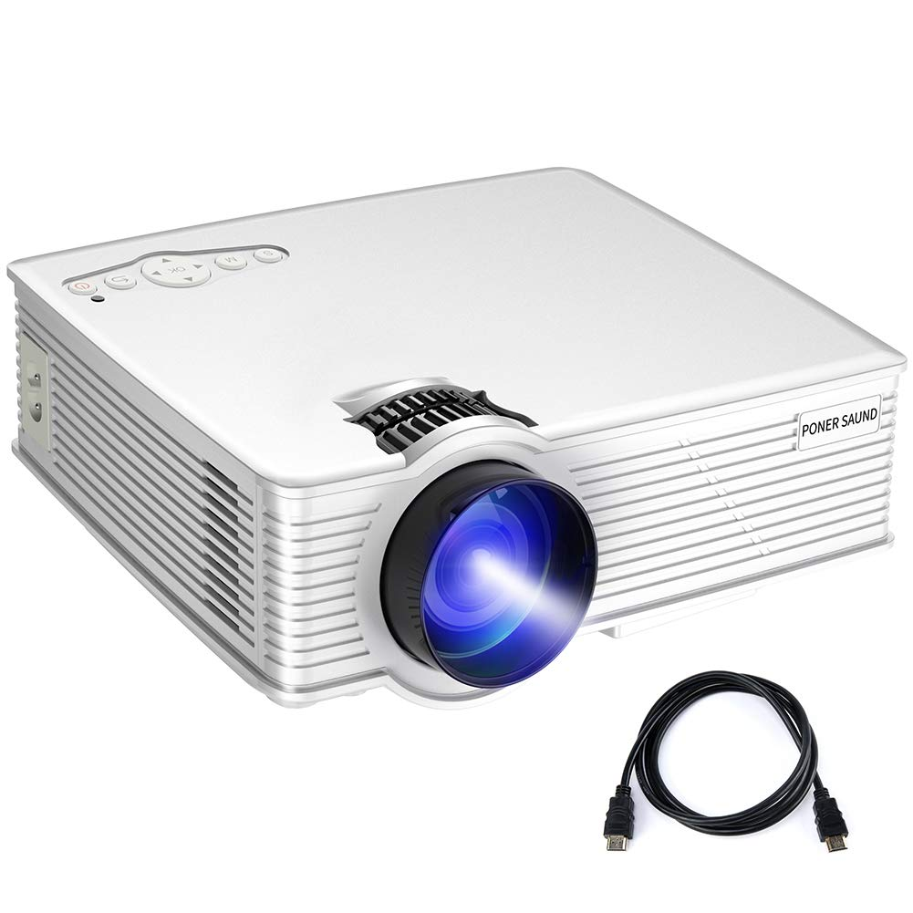 PONER SAUND Mini Projector, 50% Brighter LED Movie Projector, GP9 Video Portable Projector 1080P Supported, Home Theater Projector Up to 170 Inch Screen, Compatible with Mac/Ipad/PS4/HDMI/VGA/TF/USB by PONER SAUND