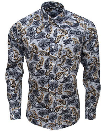0dfd8124f9c Relco Mens Grey Mustard Paisley Long Sleeved Button Down Vintage Shirt Mod  60 s