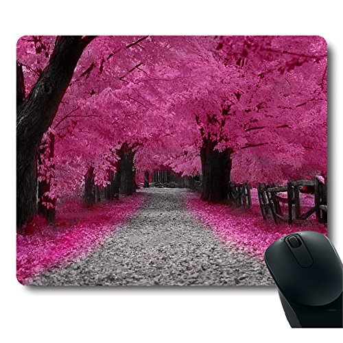 Neon Pink Sakura Cherry Blossom Red Leaves Tree Decorative Customized Mouse Pad