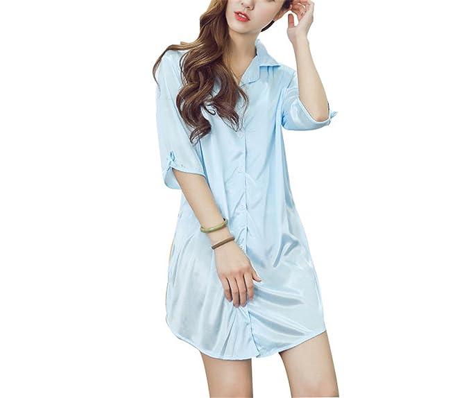 JIANGTAOLANG Women SHalf Sleeve Sleeping Dress Mini Sexy Sleepwear Nightgowns Blue L