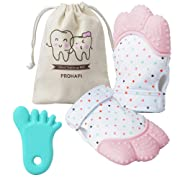 Prohapi Silicone Baby Teething Mitten, Self Soothing Teether & Teething Pain Relief Toy Glove Plus Hygienic Travel Storage Pouch - Natural Remedy for Infants & Toddlers 3-6 Months (Pink 2-Pack)