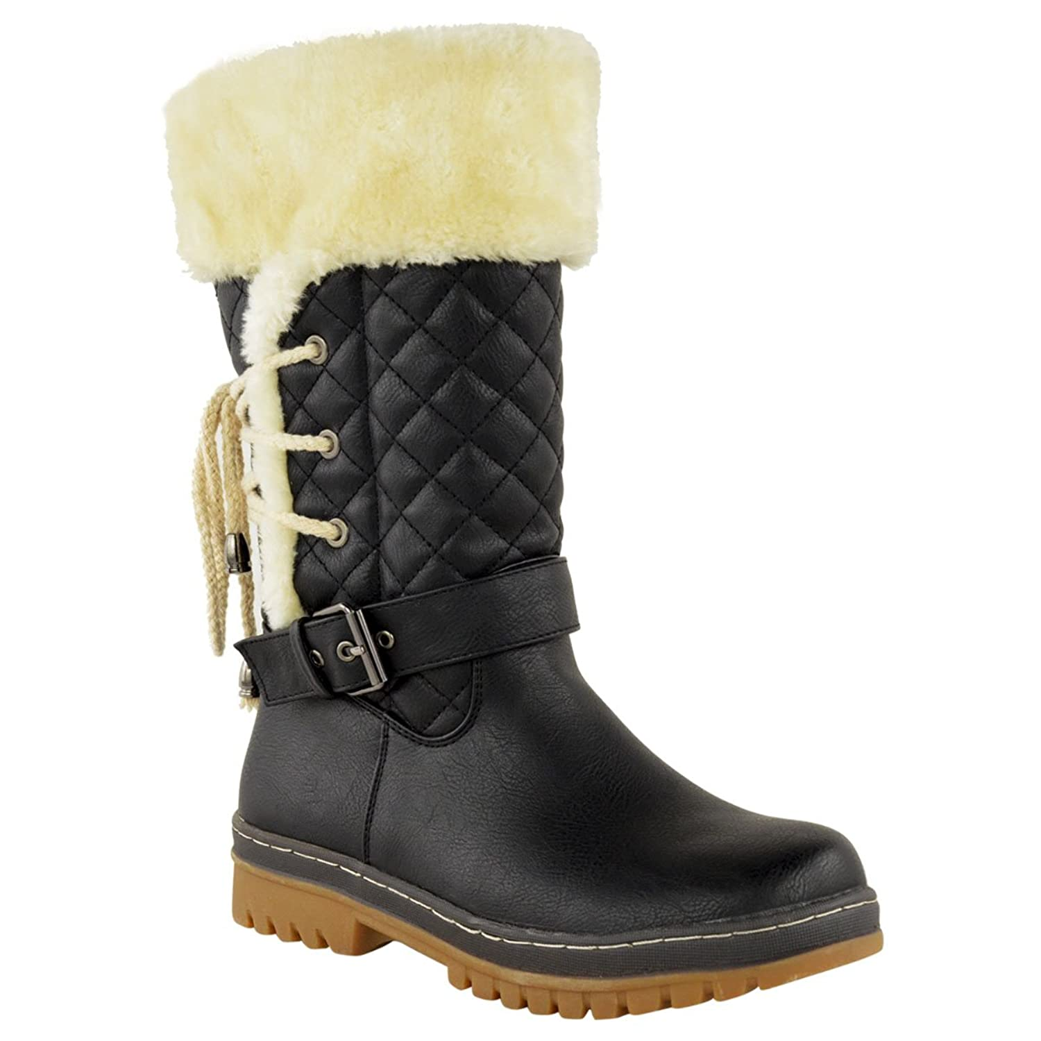 Womens Ladies Flat Knee High Calf Winter Snow Fur Lined Ankle Boots Grip Sole Size GC_6154
