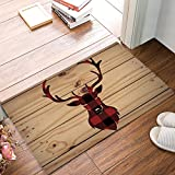 Christmas Reindeer Red & Black Buffalo Check Plaid Doormat Non Slip Indoor/Outdoor/Front Door/Bathroom Entrance Mats Rugs Carpet