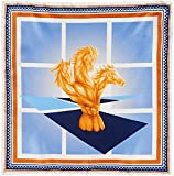 R. Culturi Made in Italy Original Artwork Fine Silk Pocket Square (White/Blue)