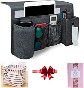 Zielony Bedside Caddy Storage Magazine Holder Organizers Home Decor with Cooler Cup Holder Non-Slip Beside Caddy Bed for Remote Control, Phone, Magazine, Bottles,Books,Tablet (Gray 2)