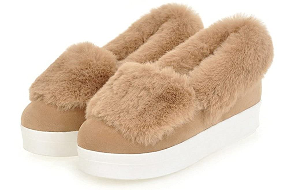 SHOWHOW Womens Simple Round Toe Fluffy Fur Faux Fur Lined Slip On Pumps