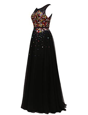 Stillluxury Long Evening Gowns with Embroidered Flowers Beaded Maxi Prom Dresses Black Size 6