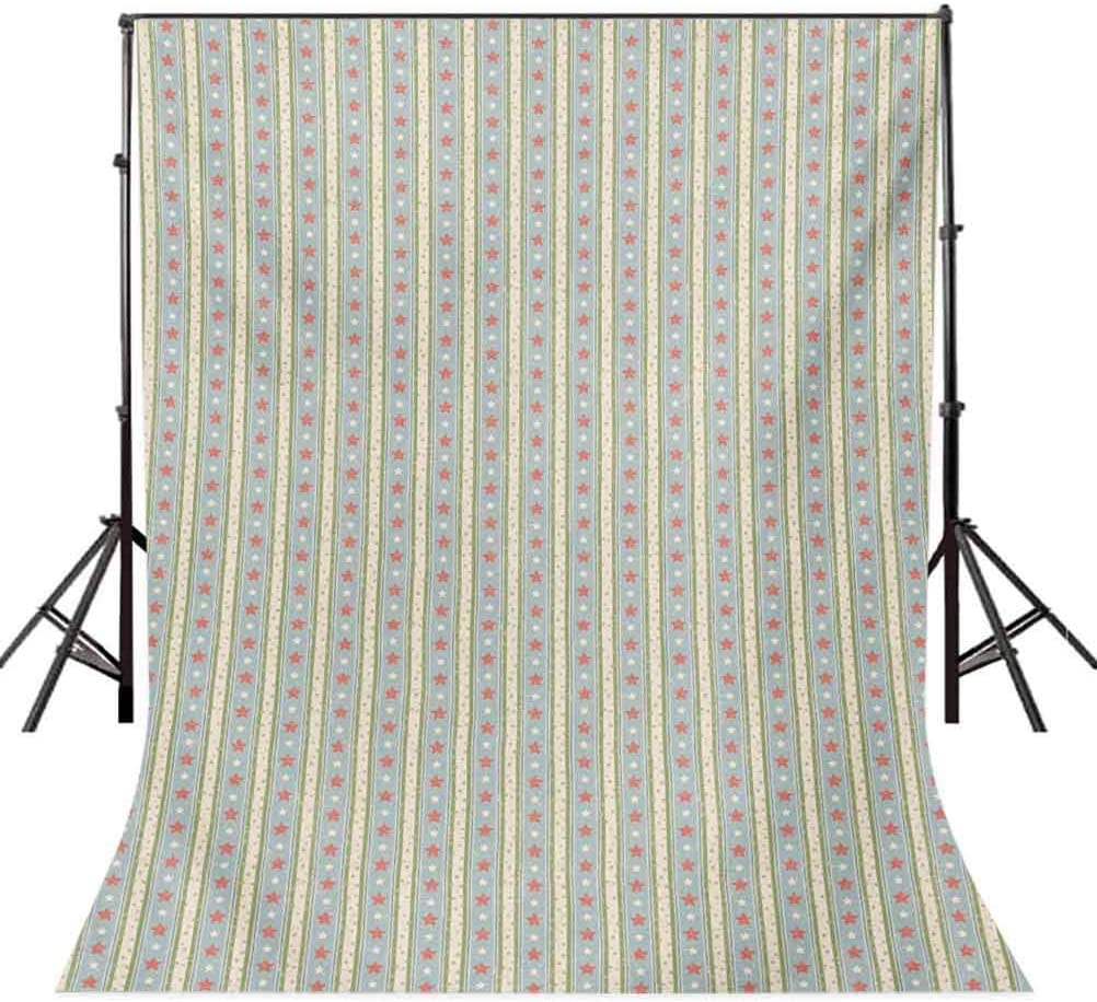 Vintage 8x10 FT Photography Backdrop Retro Vertical Stripes and Stars with Pastel Colors Ornamental Symbols Pattern Background for Child Baby Shower Photo Vinyl Studio Prop Photobooth Photoshoot
