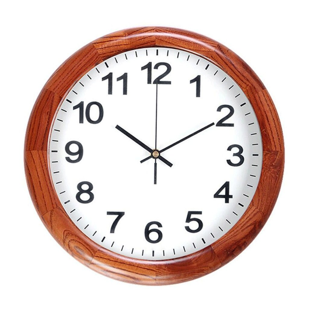トゥーンウッドソリッドウッドミュートウォールクロックリビングルームクォーツ時計ラウンドクロック GAODUZI B07FBZJDPT