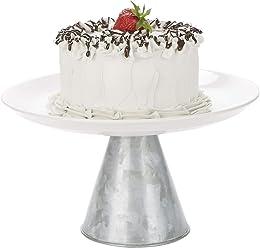 6357557b80224 Mind Reader GALCAKE-SIL Ceramic & Galvanized, Party Cake, Cupcake Stand  Holder,
