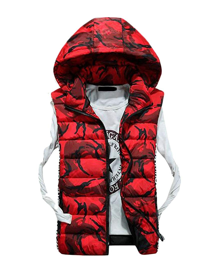 Lutratocro Mens Hooded Casual Slim Cotton-Padded Quilted Camo Vest
