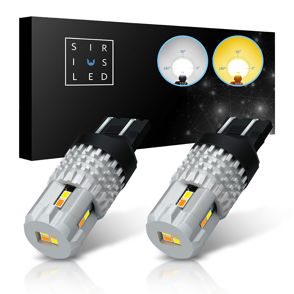 SiriusLED Ultra Compact Extremely Bright 2835 Chip Full Aluminum Dual Color White Yellow Switchback LED Fog DRL Turn Signal Tail Light Bulb Size 7443 7442NA Pack of 2 7444 7444NA