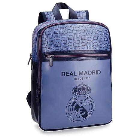 Real Madrid Blue RM Mochila Tipo Casual, 36 cm, 11.66 litros, Morado