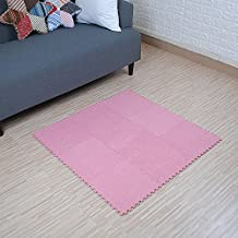 "yazi Interlocking Foam Puzzle Floor Mat Set Baby Child Pink Color Set of 9 ,Each tile is 1 sqft 12"" x 12"" x 0.43"",Set of 9 Tiles"