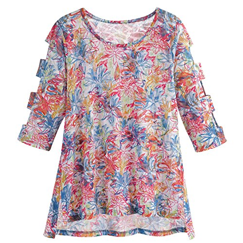Cotton Connection Women's Neon Swirls Tunic Top - 3/4 Length Peek-a-Boo Sleeves - Medium