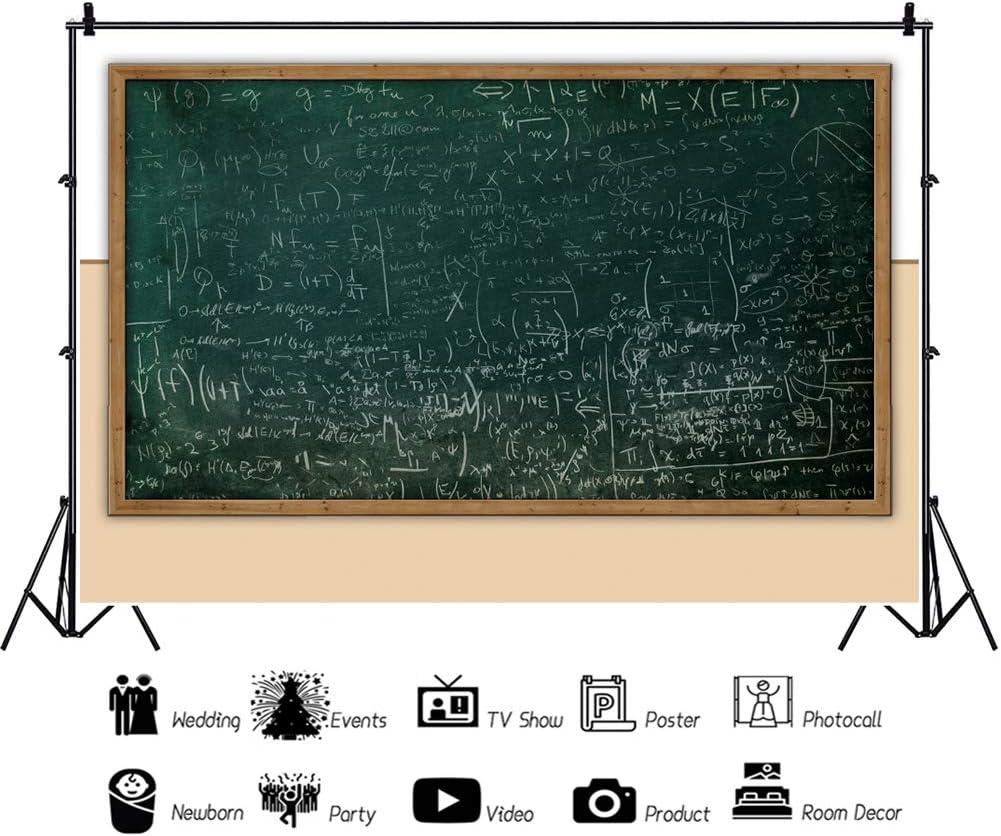 YEELE 5x3ft Back to School Background Math Class Blackboard Photography Backdrop Online Teaching Course for Math Class Kid Boy Student Portrait Photo Shoot Studio Prop