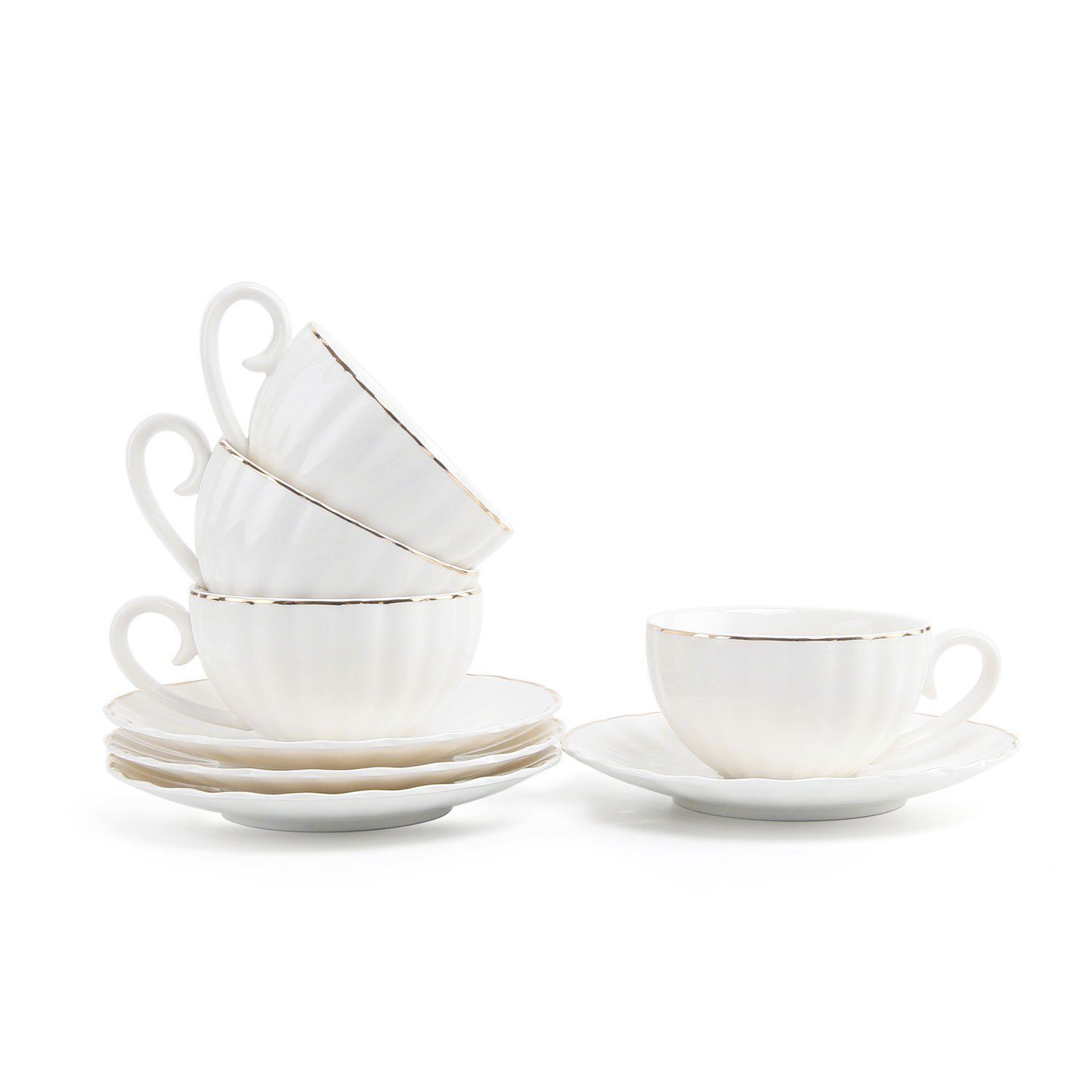 T4U 7.5OZ Porcelain Coffee Cup with Saucer Set of 4, White with Golden Trim British Royal Style Cappuccino Latte Tea Cup with Saucer Set