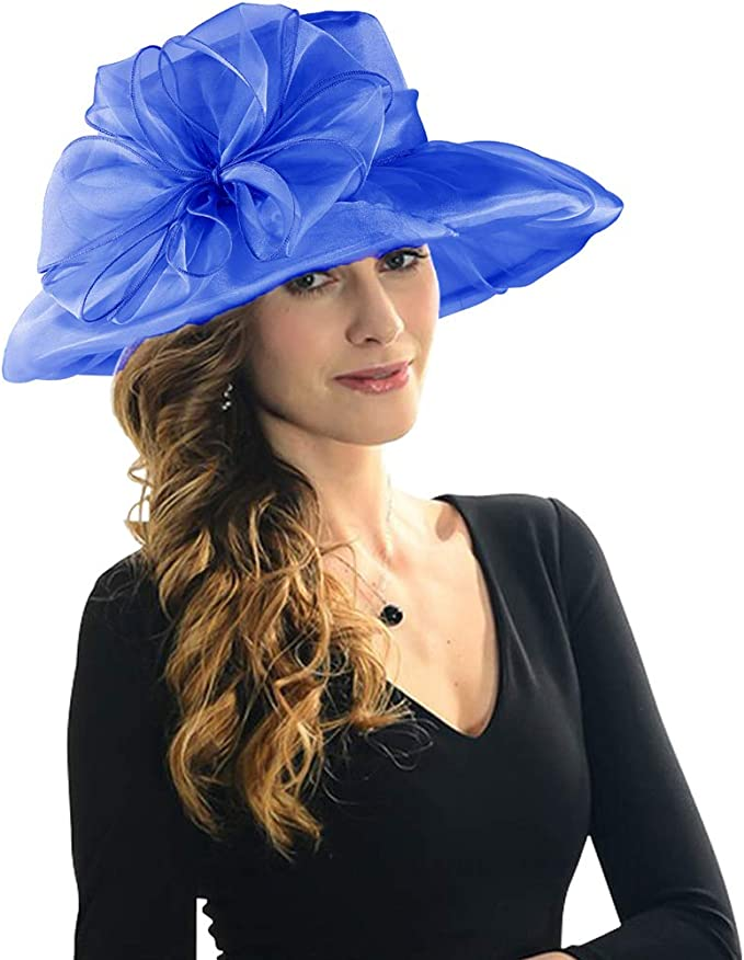 Women Organza Wide Brim Floral Ribbon Flower Derby Church Dress Sun Hat Party