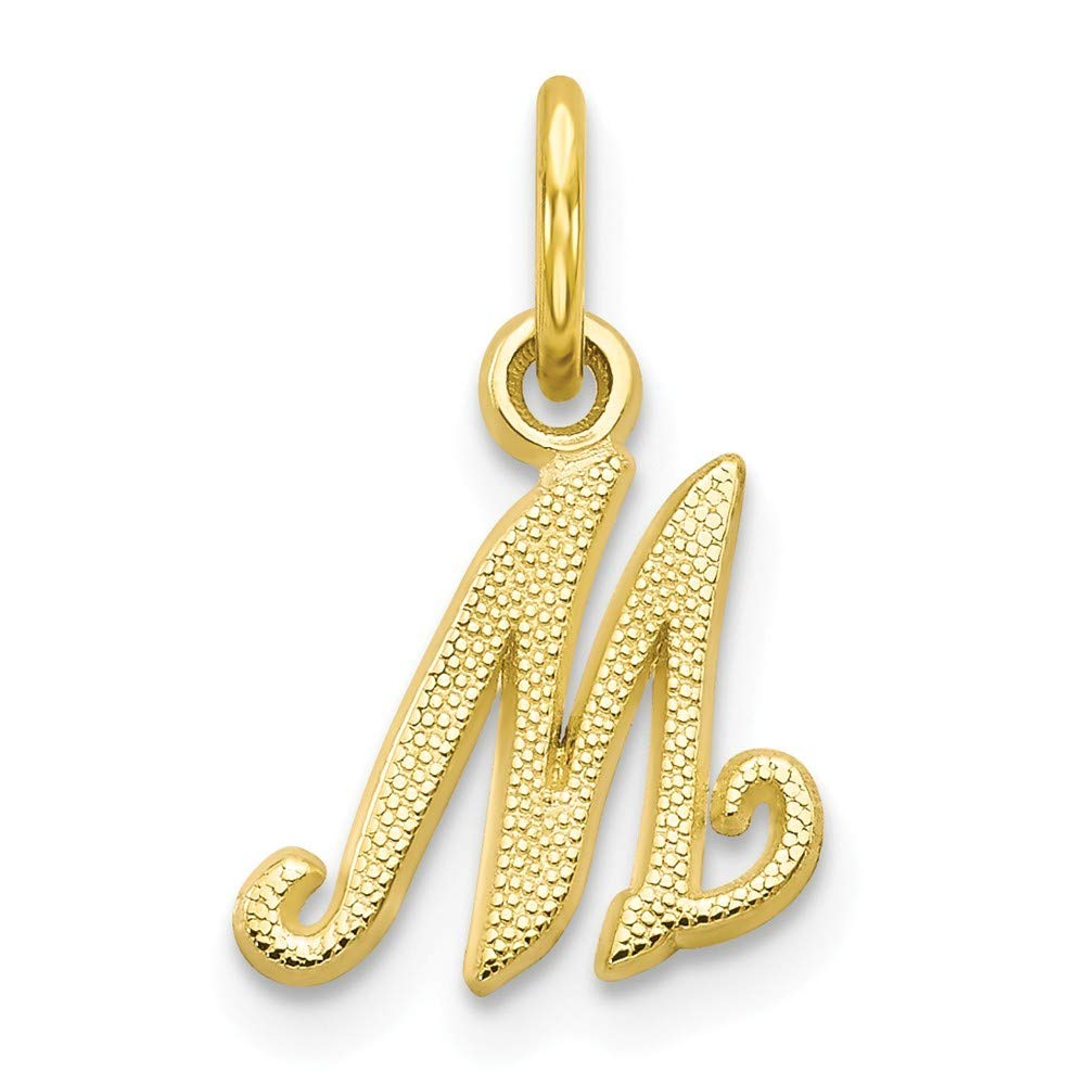 10K Yellow Gold Initial Letter M Charm Pendant from Roy Rose Jewelry