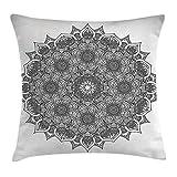 Queen Area Mandala Decor Flower and Leaf Old Arabic Ottoman Mandala Chart Life Web Meditation Print Square Throw Pillow Covers Cushion Case for Sofa Bedroom Car 18x18 Inch, Black White