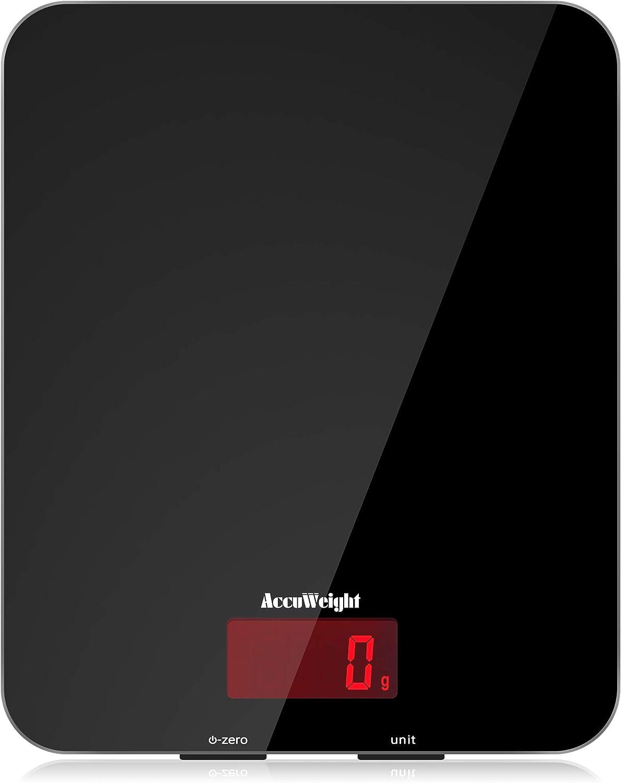 ACCUWEIGHT Báscula Digital de Cocina 5kg/11 lbs Balanza Alimentos Multifuncional con Superficie de Vidrio Templado y Pantalla LCD para Peso de Comida, Alta Precisión hasta 1g, Negro