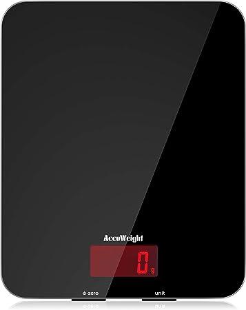 ACCUWEIGHT Báscula Digital de Cocina 5kg/11 lbs Balanza Alimentos Multifuncional con Superficie de Vidrio Templado y Pantalla LCD para Peso de Comida, Alta Precisión hasta 1g, Negro: Amazon.es