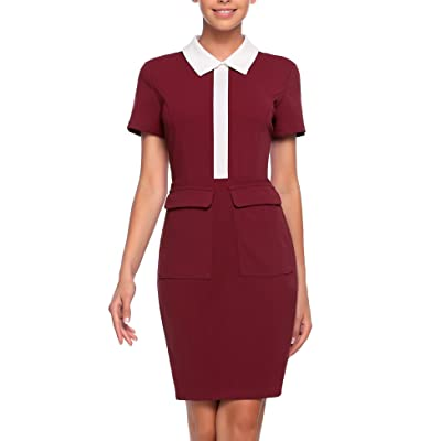 ANGVNS Women's Floral Print Short Sleeve Lace up Vintage Cocktail Party Swing Dress at Women's Clothing store