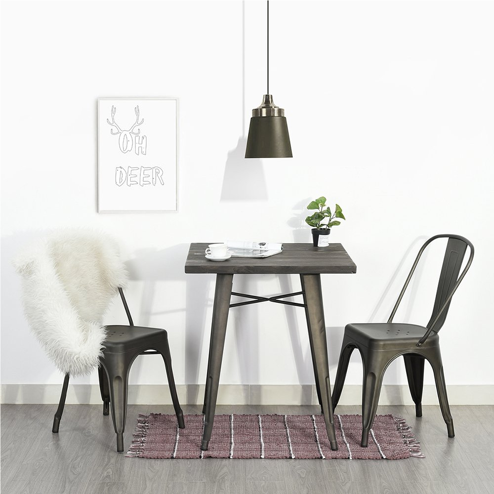 Homycasa Side Chairs Metal Stackable Industrial Chic Dining Bistro Cafe Set of 2, Bronze Black