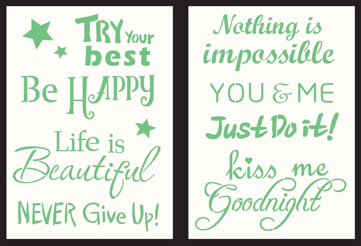 """GSS Designs Pack of 2 Decor Stencils - 6"""" x 8.25"""" Reusable Stencils Template Words Stencil for Journal/Craft/Scrapbooking and Home Decor (SL-008)"""