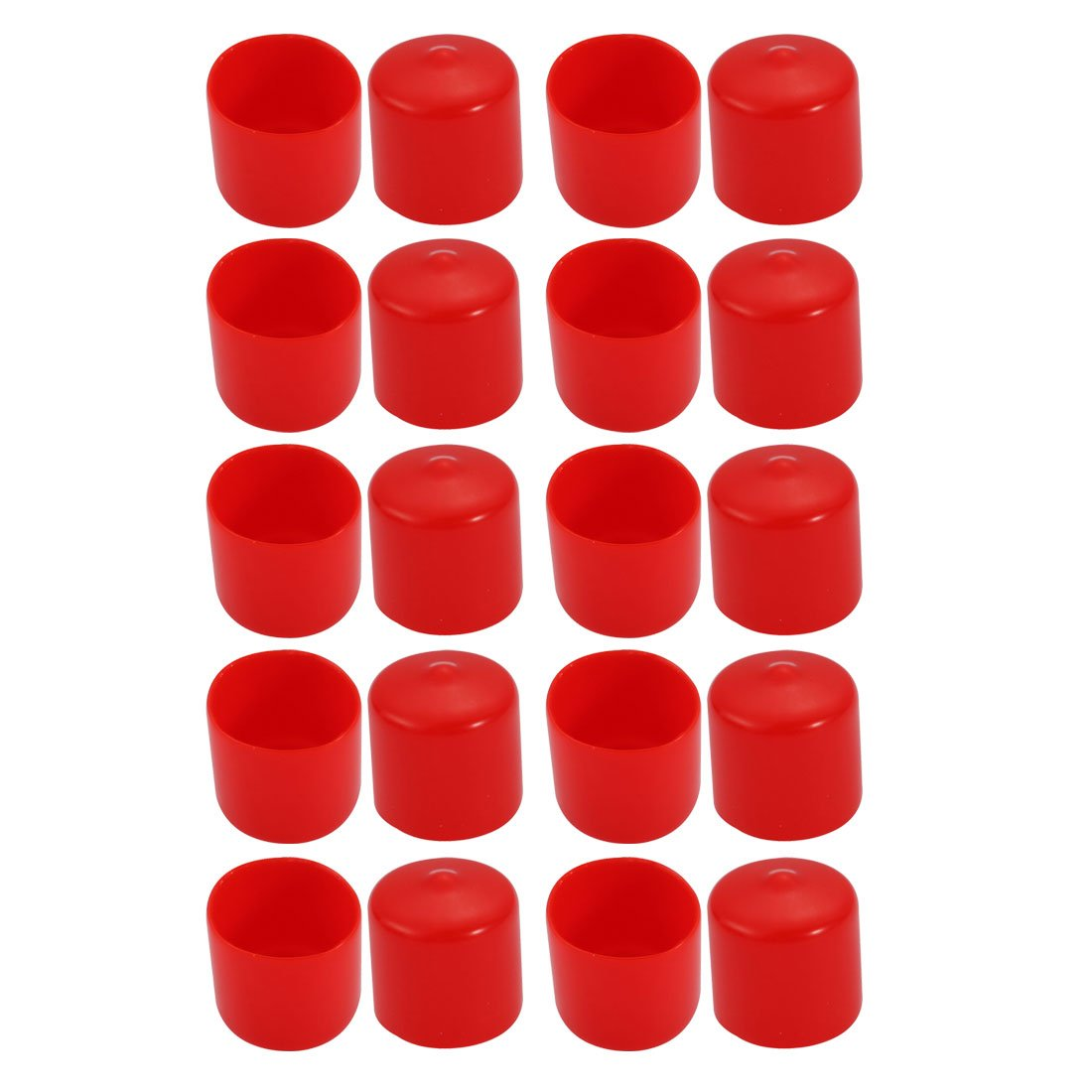 uxcell 20Pcs 23mm Inner Dia PVC Flexible Vinyl End Cap Screw Thread Protector Cover Red
