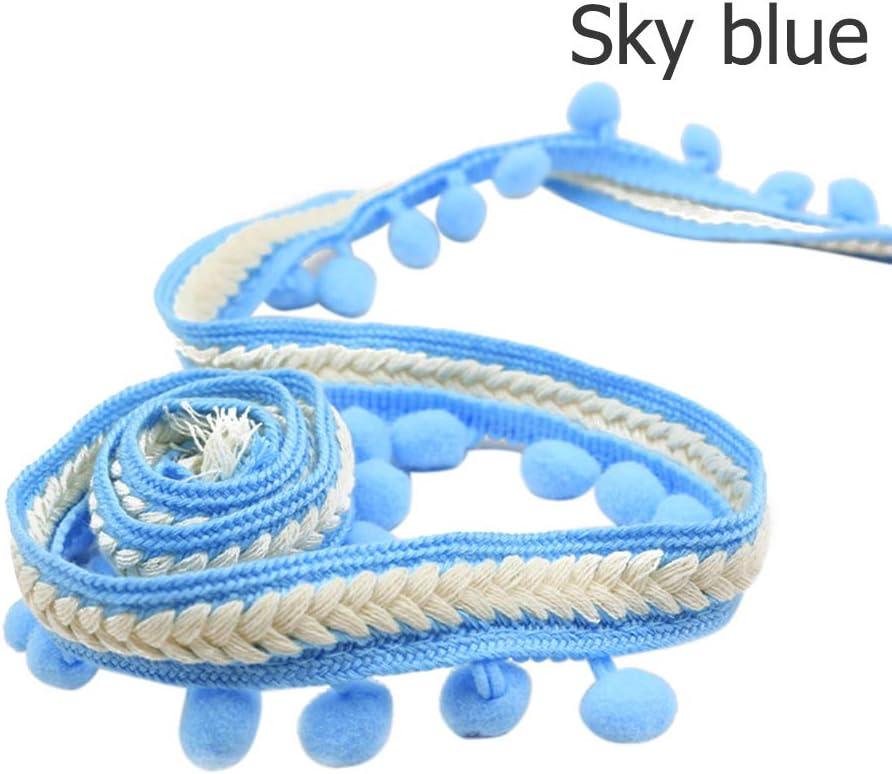 1.2cm azul celeste Cinta bordada vintage de 1,2 cm con pompones y flecos para coser o hacer manualidades Hairball diameter