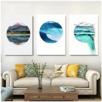 Azul mar y cielo paisaje nórdico lienzo pintura libre ...