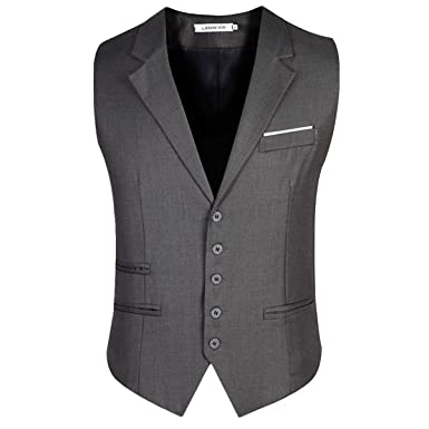 Einreiher Grau Anthrazit Herren Anzugweste Business V-Ausschnit Slim fit  Anzug Weste