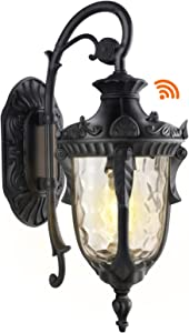 PARTPHONER Dusk to Dawn Outdoor Light Fixture Wall Mount, Waterproof Porch Light Fixtures Wall Lamp, Outside Wall Sconce Exterior Wall Lamp with Textured Glass for House, Front Door, Garage