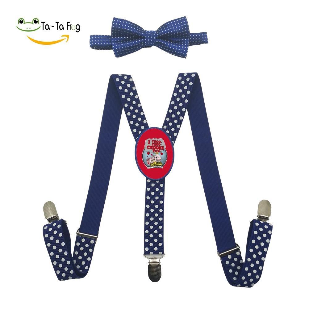 Xiacai Cute Train Suspender/&Bow Tie Set Adjustable Clip-On Y-Suspender Kids