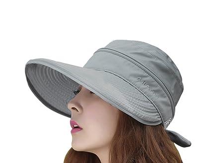 49c68f6f435c1 FakeFace Mujer Elegante ala Ancha Visera Anti-UV Protección Solar 2 en 1  Combinado Sol