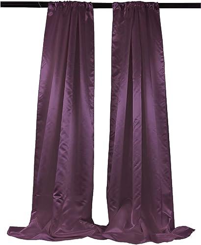 LA Linen Pack 2 Bridal Satin Backdrop, 58 by 96-Inch, Eggplant