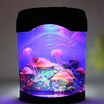 Superb Discovery Kids LED Multi Colored Swimming Jellyfish Tank Mood Lamp Night  Light