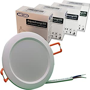 AquastrongLED Recessed 3.5 inch - 12VAC/DC Waterproof Shockproof Ultrathin Flushmount Downlight LED Light - 3W, 4000K Natural White - Perfect for Off-Grid Marine, RV & Solar Homes! 10-Year (4-Pack)